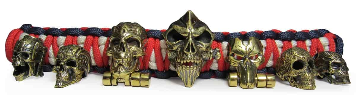 Paracord accessories skulls beads and buckles