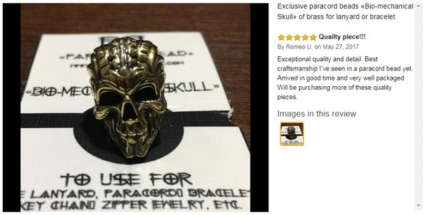 Paracord accessory decorative skull for bracelet review by Romeo
