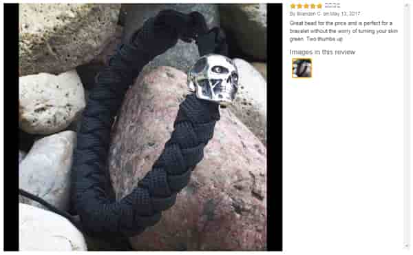 Review about paracord bead «Terminator» of sterling silver .925 for bracelets or knife lanyard by Brandon